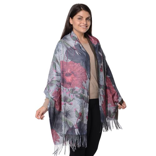 Winter Reversible Digital Printed Lotus Pattern Scarf with Tassel (Size 70x180 Cm) - Dark Green and Rust Red