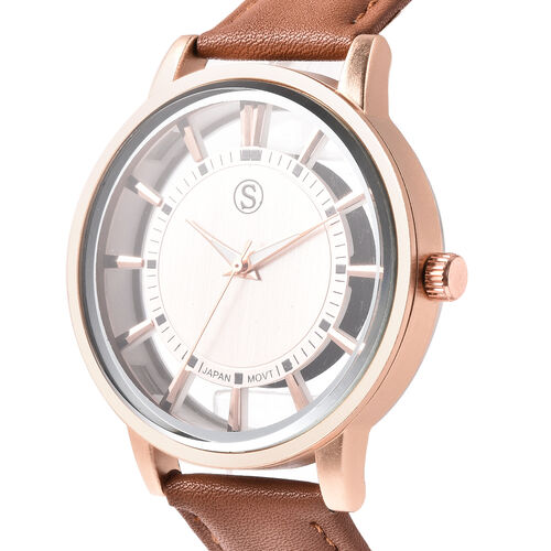 STRADA Japanese Movement Rose Gold Dial Water Resistant Watch with Light Coffee Colour Strap