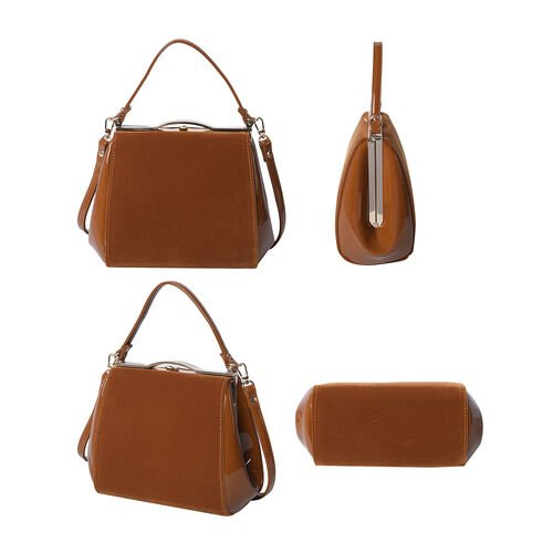 BOUTIQUE COLLECTION Brown Satchel Bag with Detachable Shoulder Strap and Top Handle (Size 24x11x19 Cm)