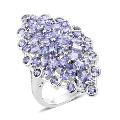 AA Tanzanite (Mrq) Cluster Ring in Platinum Overlay Sterling Silver 6.000 Ct. Silver wt 7.80 Gms.