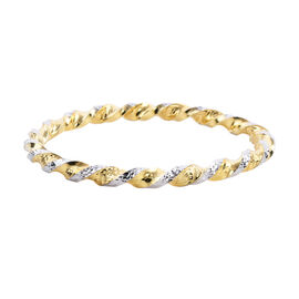 Hatton Garden Close Out Deal Royal Bali Collection - 9K Yellow and White Gold Bangle (Size 7.5), Gol