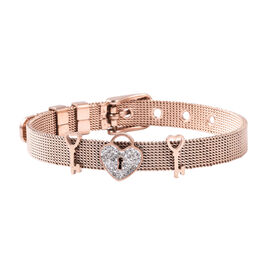 White Austrian Crystal Love Heart Lock and Key Mesh Chain Bracelet (Size 6-7) in Rose Gold Plated St