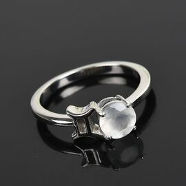 Sri Lankan Silver Moonstone Zodiac-Gemini Ring in Platinum Overlay Sterling Silver 0.57 Ct.