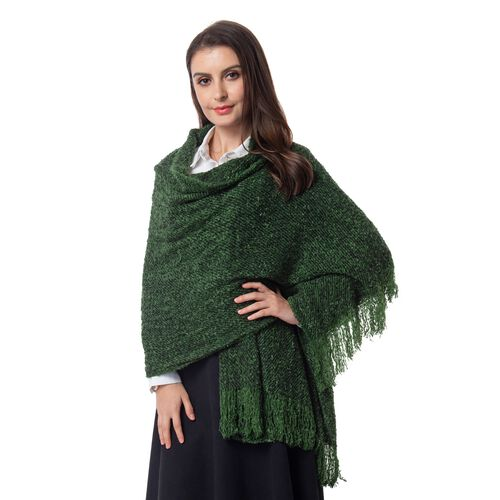 Designer Inspired-Green and Black Colour Blanket Scarf (Size 200x64 Cm)