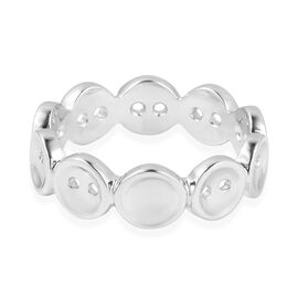 Lucy Q Rhodium Overlay Sterling Silver Buttons Ring