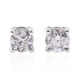 Doorbuster Deal- 14K White Gold SGL Certified Diamond (Rnd) (I1-I2/G-H) Earrings (with Screw Back) 1