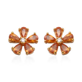 Sunset Sapphire and Natural Cambodian Zircon Floral Stud Earrings (with Push Back) in Yellow Gold Ov