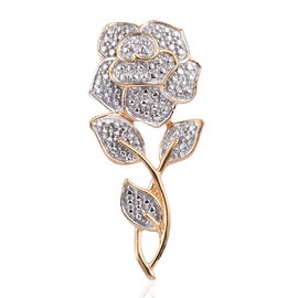 Spring Special White Diamond (Rnd) Rose Pendant in 14K Gold and Platinum Overlay Sterling Silver