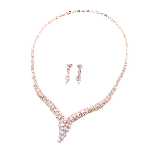 2 Piece Set - Simulated Diamond and White Austrian Crystal Necklace (Size 22) and Drop Earrings in S
