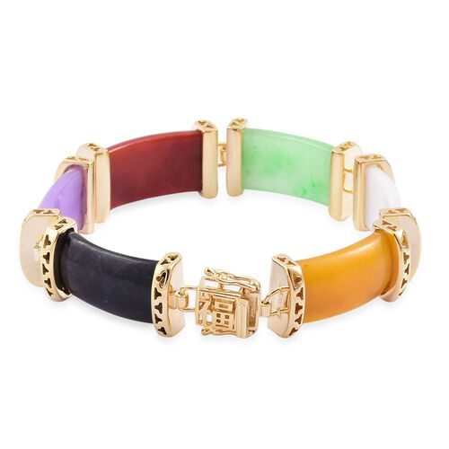 Limited Edition- Yellow, White, Purple, Red, Green and Black Jade Chinese Character FU (Happiness) Bracelet (Size 7.5) in Yellow Gold Overlay Sterling Silver 125.00 Ct. Silver wt 11.70 Gms.