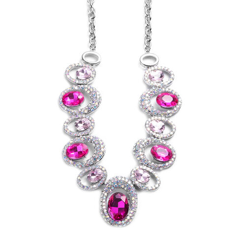 Simulated Pink Tourmaline, Simulated Pink Diamond and Simulated Mystic White Crystal Necklace (Size