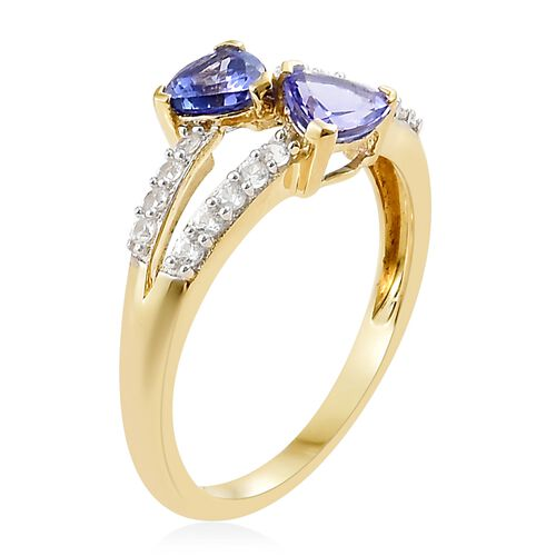 1.50 Carat Tanzanite and Natural Cambodian Zircon Ring in 9K Gold