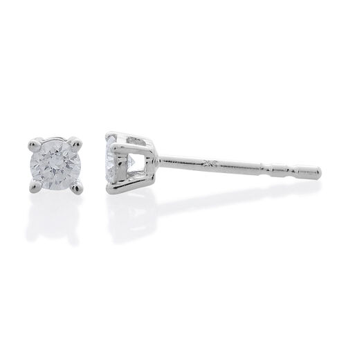 SGL Certified Diamond (I3 - G-H) Stud Earrings in 9K White Gold  (with Push Back) 0.250 Ct.