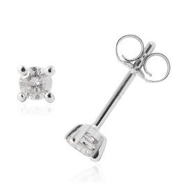 9K White Gold SGL Certified Diamond (Rnd) (I3/G-H) Stud Earrings (with Push Back) 0.250 Ct.