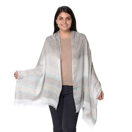Grey Colour Geometry Pattern Scarf with Crystal (Size 70x180 Cm)