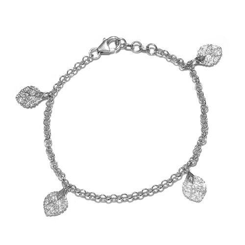 New Arrival - Rhodium Plated Sterling Silver Leaf Charm Bracelet (Size 7.5 with Half inch Extender), Silver wt. 6.36 Gms.