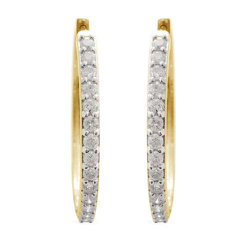 9K Yellow Gold SGL Certified Diamond (Rnd) (I3/G-H) Hoop Earrings (with Clasp Lock) 1.000 Ct, Gold wt 5.20 Gms.