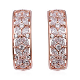 ELANZA Simulated Diamond Earrings (with Clasp) in Rose Gold Overlay Sterling Silver