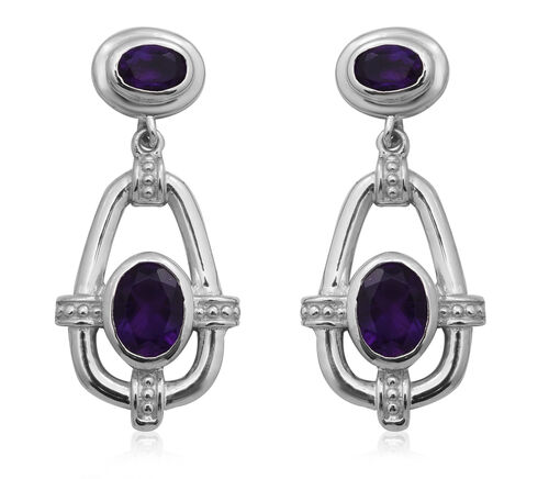 Lusaka Amethyst Dangle Earrings (with Push Back) in Rhodium Overlay Sterling Silver 3.05 Ct.