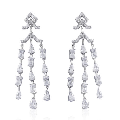 Designer Inspired - ELANZA Simulated White Diamond (Pear) Earrings (with Push Back) in Rhodium Plated Sterling Silver, Silver wt 8.00 Gms.