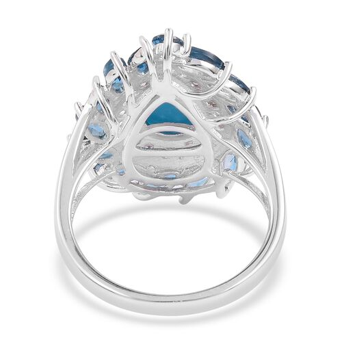 Arizona Sleeping Beauty Turquoise (Pear), London Blue Topaz and Natural White Cambodian Zircon Ring in Rhodium Plated Sterling Silver 4.900 Ct. Silver wt 5.15 Gms.