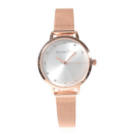 Close Out Deal- ETERNITY Swarovski Studded Ladies Watch with Gold Tone Mesh Strap