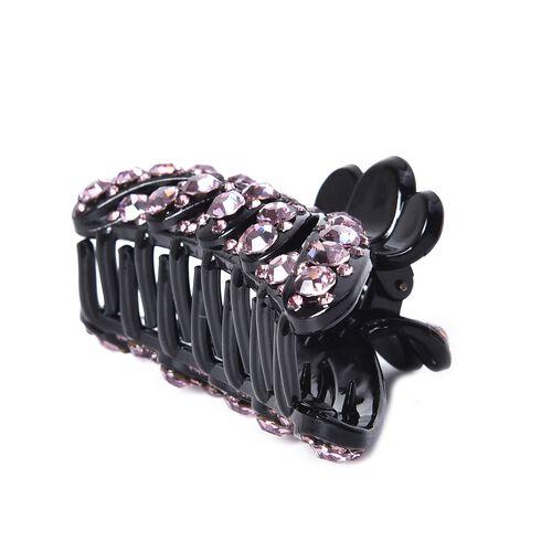 Crystal Studded Hair Claw Clip - Light Purple