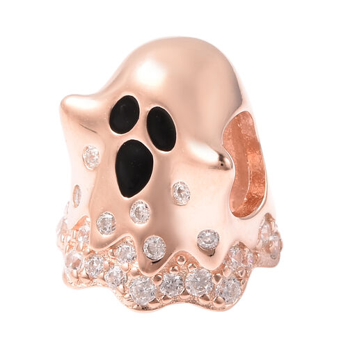 Charmes De Memoire - Simulated Diamond Ghost Charm in Rose Gold Overlay Sterling Silver Charm/Pendant