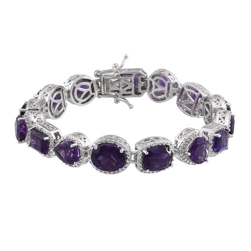 Amethyst and Natural Cambodian Zircon Bracelet (Size 7.25) in Platinum Overlay Sterling Silver 20.351 Ct. Silver wt 23.50 Gms.