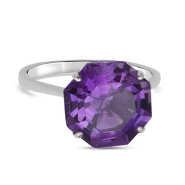 Natural Lusaka Amethyst Solitaire Ring in Rhodium Overlay Sterling Silver 6.55 Ct.