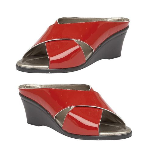 Lotus Patent Leather Trino Open-Toe Mule Sandals (Size 4) - Red