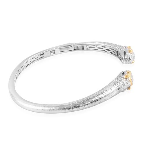 Snake Head Magnetic Cuff Bangle (Size 7.5) in Platinum and Yellow Gold Plated