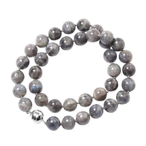 Collectors Edition- Labradorite (Rare Size Rnd 12-14 mm) Beads Necklace (Size 20) in Rhodium Overlay Sterling Silver with Magnetic Lock 476.00 Ct.