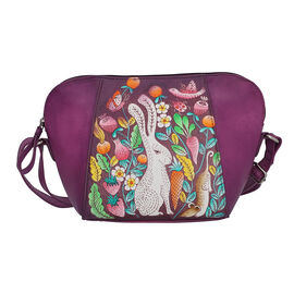 SUKRITI 100% Genuine Leather Bunny Hand Painted Crossbody Bag (28x9x20cm) with Adjustable Shoulder S