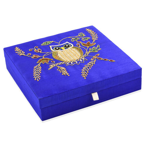 Blue, Golden and Multi Colour Zari Art Work Owl Hand Embroidered 100 Slot Ring Box (Size 25X25 Cm)