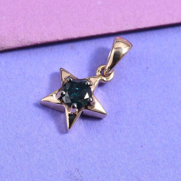 9K Yellow Gold Blue Diamond (Rnd) Star Pendant 0.25 Ct.