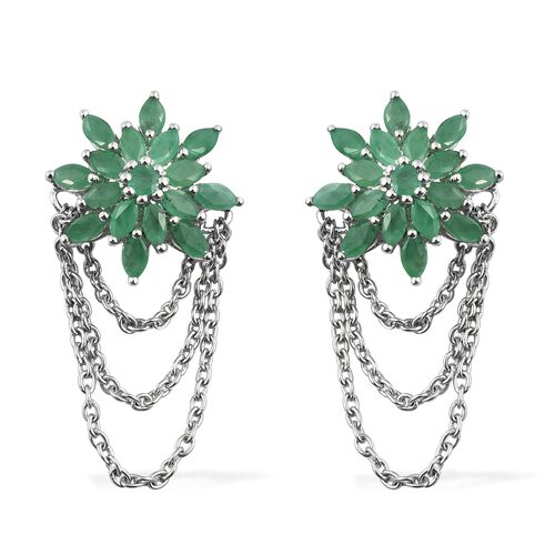 Dream Catcher Collection- Kagem Zambian Emerald (Mrq) Earrings (with Push Back) in Platinum Overlay Sterling Silver 2.250 Ct.