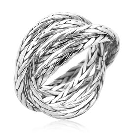 Royal Bali Collection - Sterling Silver Braided Multi Strand Ring, Silver wt 8.70 Gms