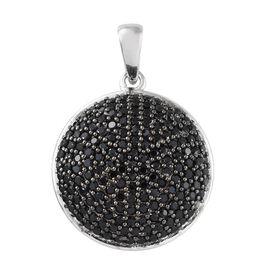 Boi Ploi Black Spinel (Rnd) Pendant in Platinum Overlay Sterling Silver 3.250 Ct, Silver wt 5.69 Gms, Number of Black Spinel- 166