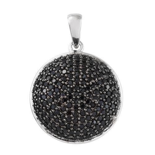 Boi Ploi Black Spinel (Rnd) Pendant in Platinum Overlay Sterling Silver 3.250 Ct, Silver wt 5.69 Gms