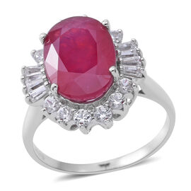 10.73 Ct African Ruby and Zircon Halo Ring in Rhodium Plated Sterling Silver