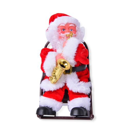 (Option 1) Christmas Decorations - Singing Electric Toy Santa Claus Playing Saxophone (Size 22x19 Cm