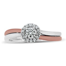 Super Auction- New York Close Out- 14K Rose and White Gold Diamond (Rnd) (I2/G-H) Ring 0.410 Ct.