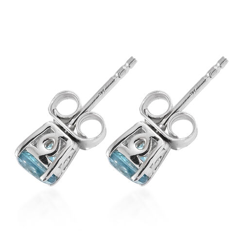 9K White Gold Natural Blue Cambodian Zircon (Rnd) Earrings (with Push Back) 1.450 Ct