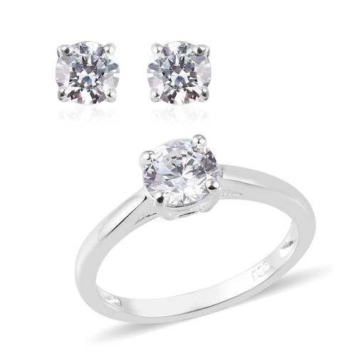 Super Find - 2 Piece Set - J Francis Sterling Silver Stud Earrings (with Push Back) and Solitaire Ri