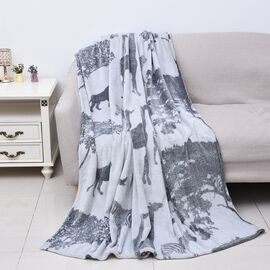 Soft Flannel Blanket with Animal Print (Size 150x200 Cm) -Grey