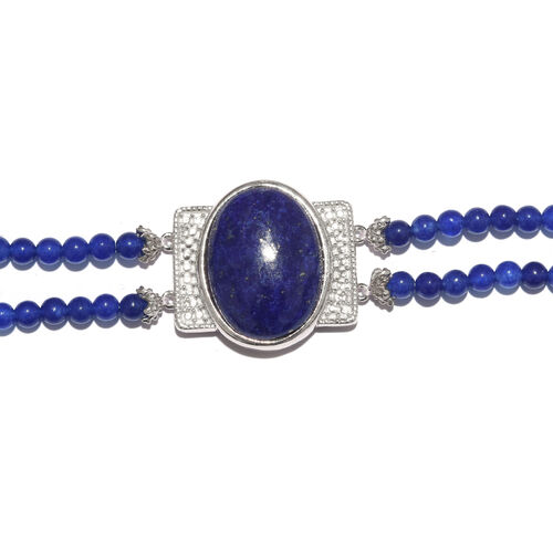 Lapis Lazuli (Ovl 14.50 Ct), Blue Quartzite Dual Strand Bracelet (Size 7.5) in ION Plated Platinum Bond and Stainless Steel 31.750 Ct.
