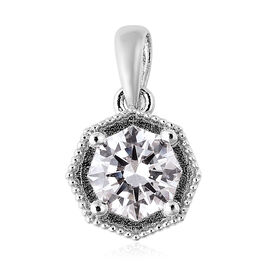 J Francis Made with SWAROVSKI ZIRCONIA Solitaire Pendant in Rhodium Plated Silver