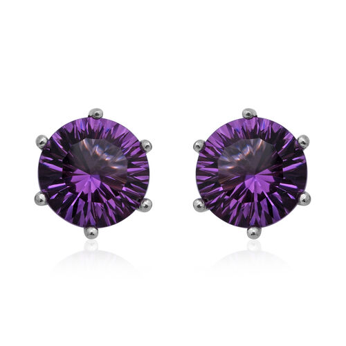 Lusaka Amethyst Stud Earrings (with Push Back) in Rhodium Overlay Sterling Silver 6.54 Ct.