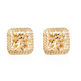 Royal Bali Collection 9K Yellow Gold Diamond Cut Stud Earrings (with Push Back)